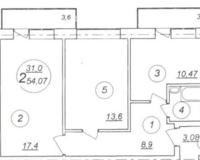 Квартира-студия 54.07 кв. м